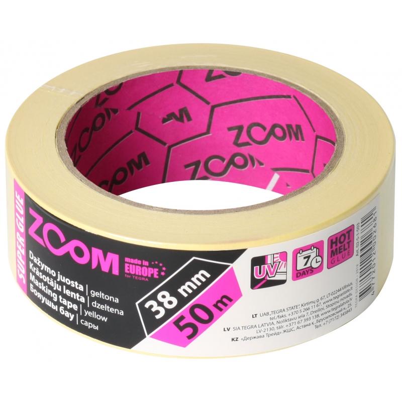 """Малярная лента 38 mm × 50 m, желтая ZOOM """"Super glue"""""""