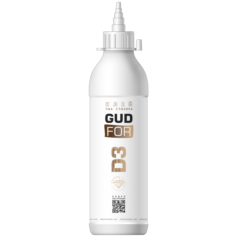 Клей ПВА столяра D3 GUDFOR, бутылка 250 гр