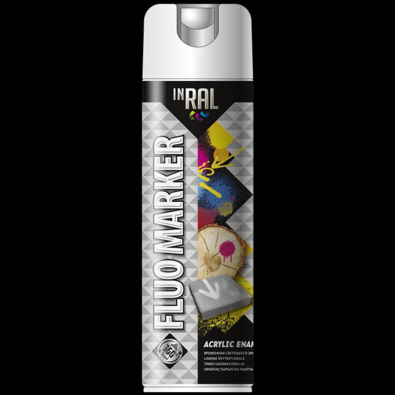 Аэрозольная маркировочная флуоресцентная краска, FLUOMARKER, белый, 500 ml, INRAL