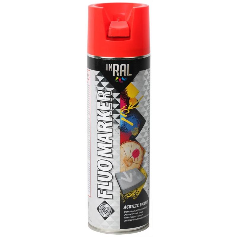 Аэрозольная маркировочная флуоресцентная краска, FLUOMARKER, красный, 500ml, INRAL