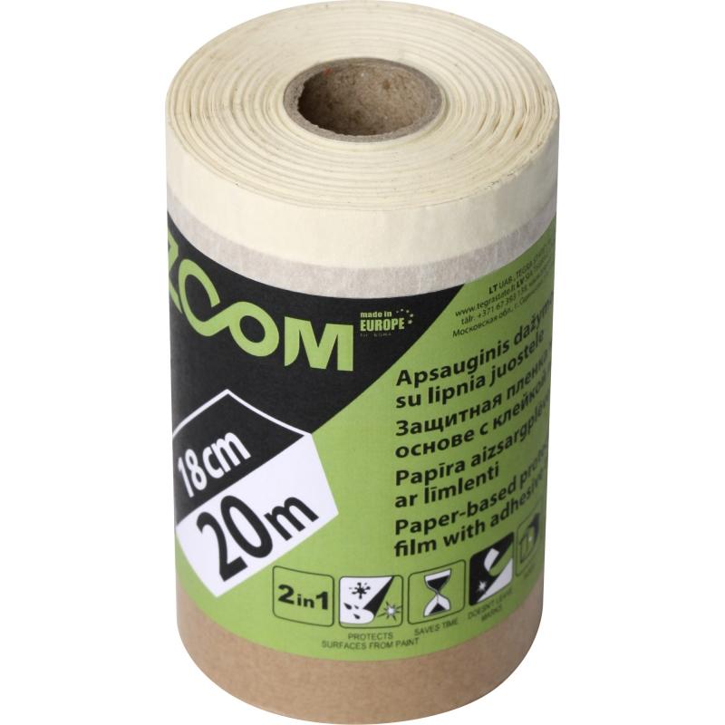 Защитная пленка на бумажной основе с защитной лентой, 18 см x 20 м, ZOOM