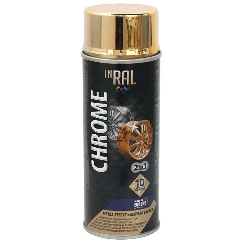Аэрозольный лак INRAL CHROME METAL EFECT+ACRYLIC LACKER
