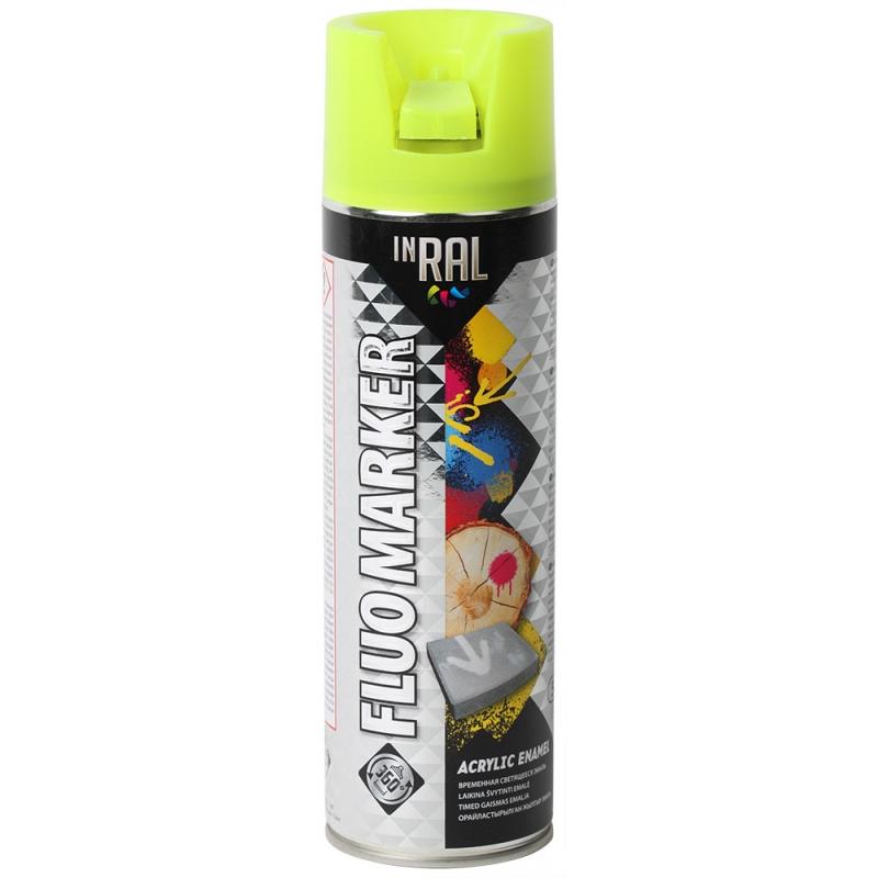 Аэрозольная маркировочная флуоресцентная краска, FLUOMARKER, желтый, 500ml, INRAL