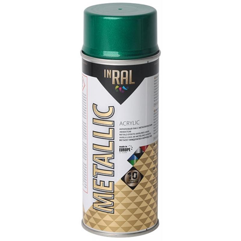 Aэрозоль aкриловый лак, METALLIC,  зеленый, 400ml, INRAL